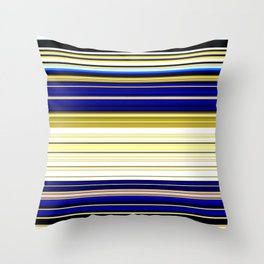 Bright Blue and Gold Boldin Stripes Throw Pillow