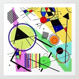 Retro Crazy - Abstract, random, crazy, geometric, colourful artwork Art Print