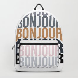 Bonjour in Bold Typography and Fall Colors Backpack
