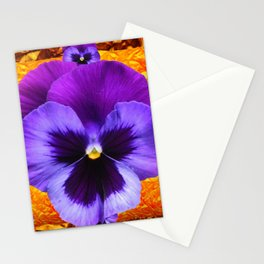 LARGE PURPLE-LILAC COLOR SPRING PANSY ON GOLD ART Stationery Cards