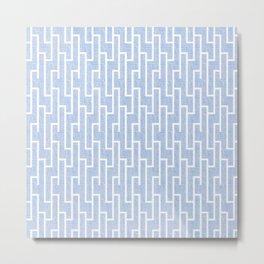 Blue and white latticework pattern Metal Print