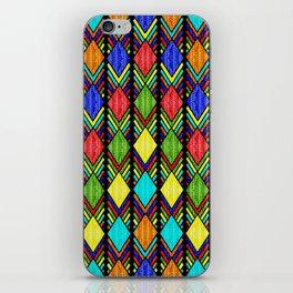 African Beaded Diamonds, Black iPhone Skin