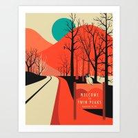 twin peaks Art Prints featuring Twin Peaks by Jazzberry Blue