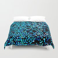 pixel Duvet Covers featuring Turquoise Blue Aqua Black Pixels by 2sweet4words Designs