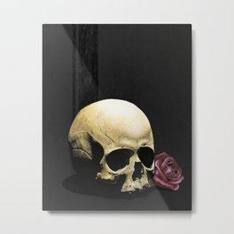 Skull and Rose Metal Print