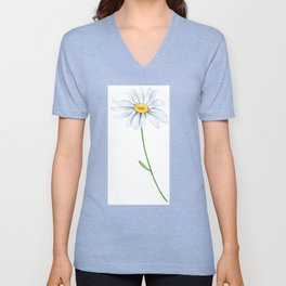 Spring Daisies On Sky Blue Watercolour Unisex V-Neck