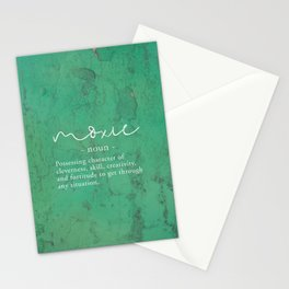 Moxie Definition - White on Green Texture Stationery Cards