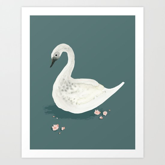 Watercolor Swan Art Print