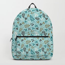 Assorted Leaf Silhouettes Teals Cream Brown Gold Ptn Backpack