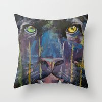 panther Throw Pillows featuring Panther by Michael Creese