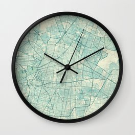 Mexico City Map Blue Vintage Wall Clock