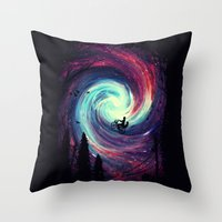 bike Throw Pillows featuring Adventure Awaits by nicebleed