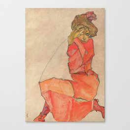 Egon Schiele - Kneeling Female in Orange-Red Dress Canvas Print