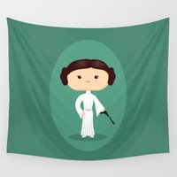 leia Wall Tapestries featuring Leia by Sombras Blancas Art & Design
