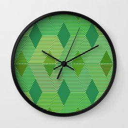 Mid-Century Diamond Warp Print, Jade Green Wall Clock
