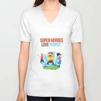 super heroes V-neck T-shirts featuring Super Heroes Love People by youngmindz