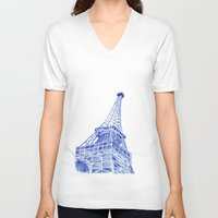 eiffel tower V-neck T-shirts featuring Eiffel Tower by BlueShadowM