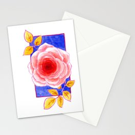 A rose with golden leaves in watercolor Stationery Cards
