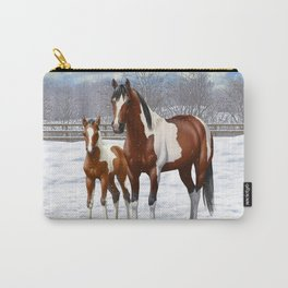 Bay Paint Horse Mare and Foal In Winter Carry-All Pouch