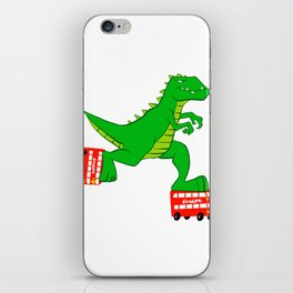 dinosaur riding roller skates. iPhone Skin