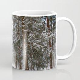 Dog exploring a snowy forest Coffee Mug