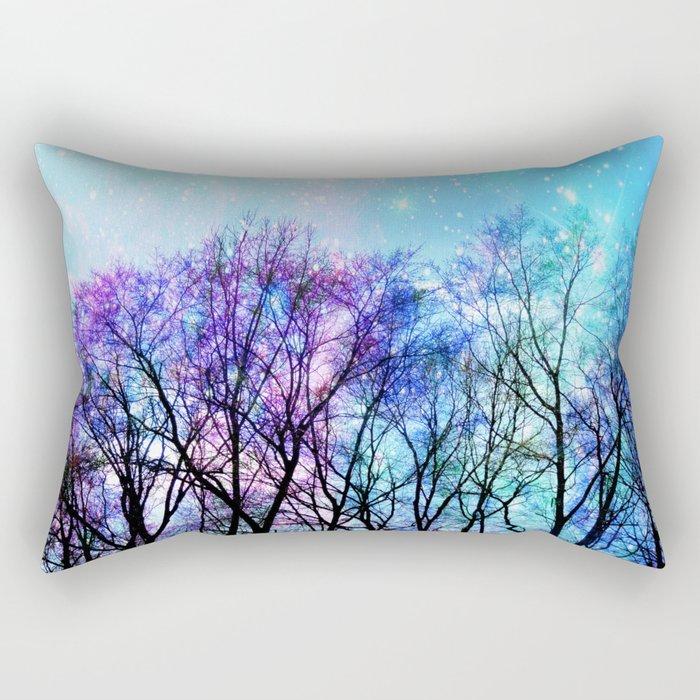 Black Trees Playful Pastels Space Rectangular Pillow
