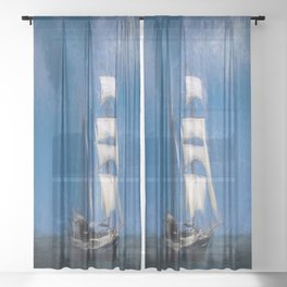 Turner Storms Sailing Ship Sheer Curtain