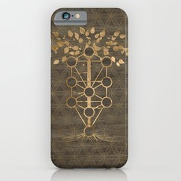 Kabbalah The Tree of Life Vintage Gold on Wood iPhone Case