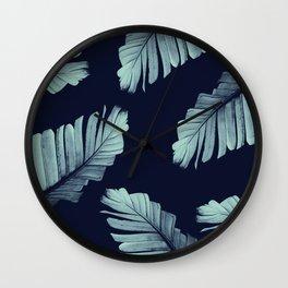Navy Blue Banana Leaves Dream #2 #tropical #decor #art #society6 Wall Clock