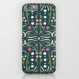 Green and White Hand Painted Bohemian Flower Design iPhone Case