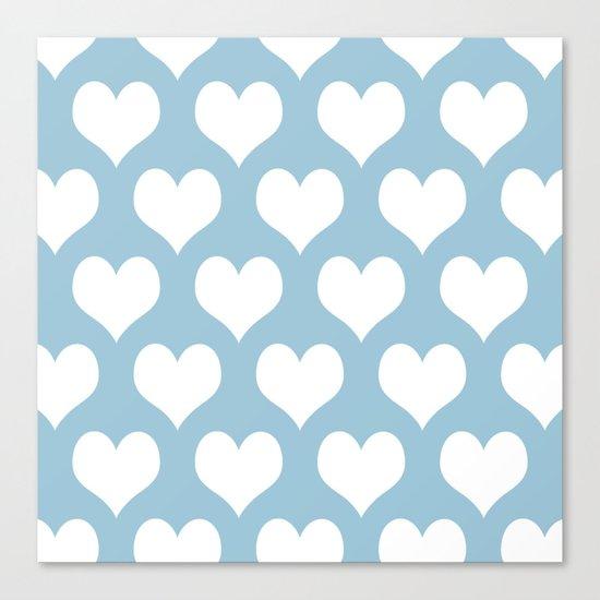 Hearts Aquamarine Canvas Print