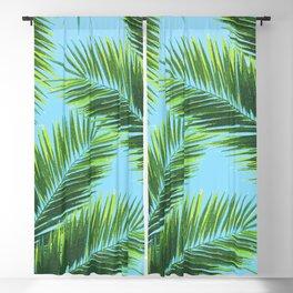 Tropical Palm Leaf Pattern 2 - Tropical Wall Art - Summer Vibes - Modern, Minimal - Green, Blue Blackout Curtain