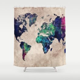 World map watercolor 1 Shower Curtain