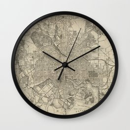 Vintage Map of Baltimore MD (1919) Wall Clock
