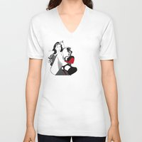 heels V-neck T-shirts featuring Red Heels by Stevyn Llewellyn