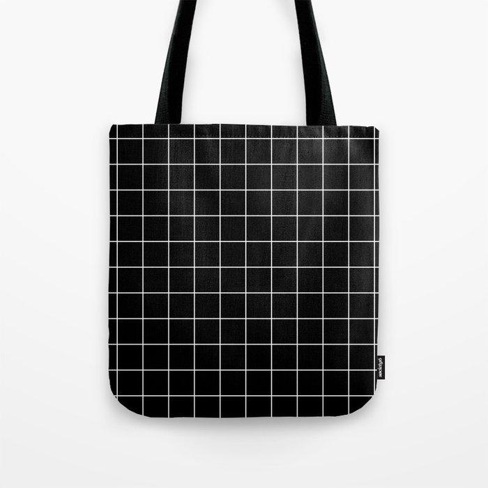 Grid Line Stripe Black and White Minimalist Geometric Tote Bag