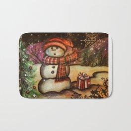 Christmas Surprise Snowman Bath Mat