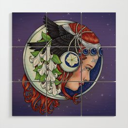 Moon Raven by Bobbie Berendson W Wood Wall Art
