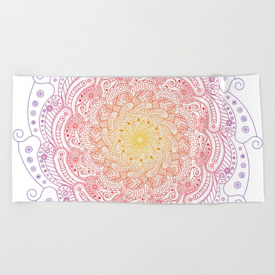 Round ornament - color Beach Towel