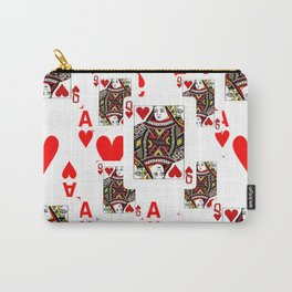 RED QUEEN OF HEARTS  & ACES PLAYING CARDS ARTWORK Carry-All Pouch