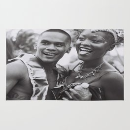 Caribana Festival Parade Costume revellers Black and white photo  Rug