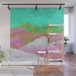 Through hilly lands and hollow lands - turqouise-violet-white option Wall Mural