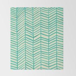 Mint Herringbone Throw Blanket