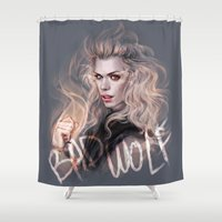 bad wolf Shower Curtains featuring Bad Wolf by jasric