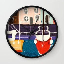 Harbor Boats In A Whimsical English Seaside Town Wall Clock
