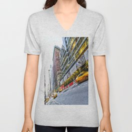 New York Street Scene Unisex V-Neck