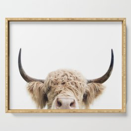 Peeking Highland Cow Serving Tray