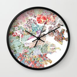 Boston map portrait Wall Clock
