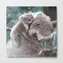 Toony Mum and Baby Koala Metal Print