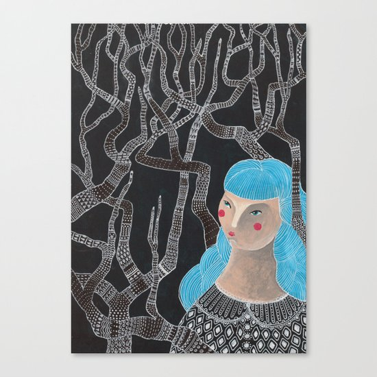 Lady in the woods Canvas Print